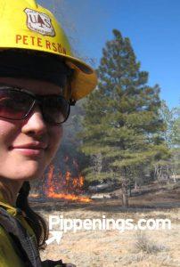Pippi Peterson fighting wildland fire